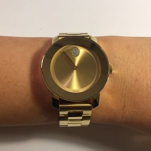Women's Movado Gold Watch w/ Crystals